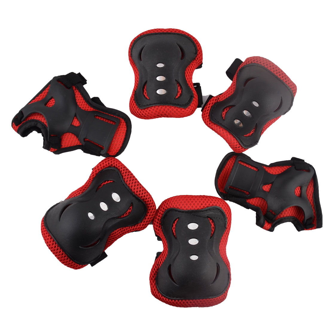 Sport Skating Adjustable Elbow Feet Knee Palm Support Protector Pads Black 6 in 1
