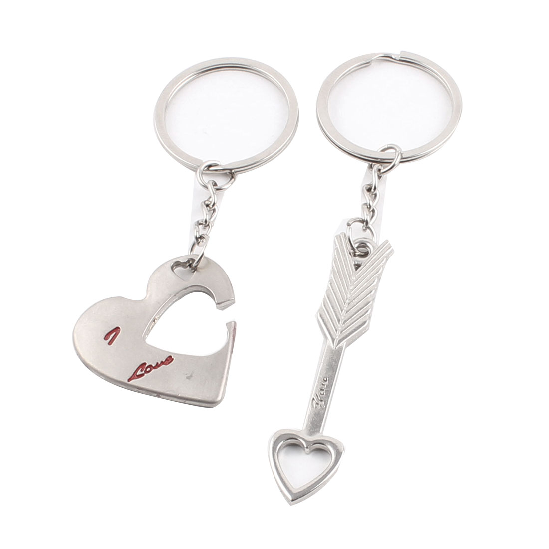 Zinc Alloy Cupid Arrow Heart Shape Dangle Lovers Couple Keyring Keychain Pair