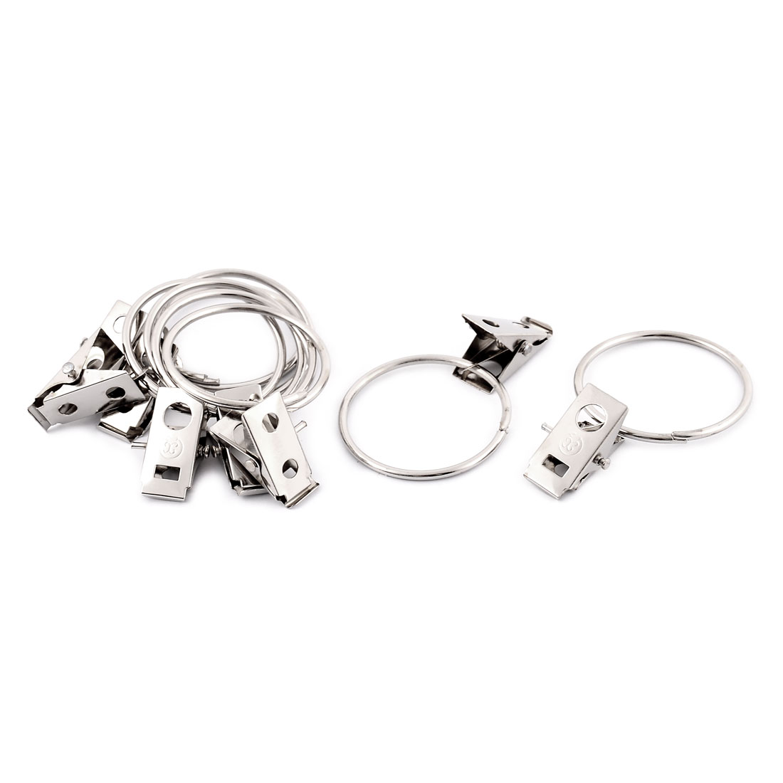 8 Pcs Metal Hooks Sprung Curtain Clothes Clips Clamps 36mm Dia Ring