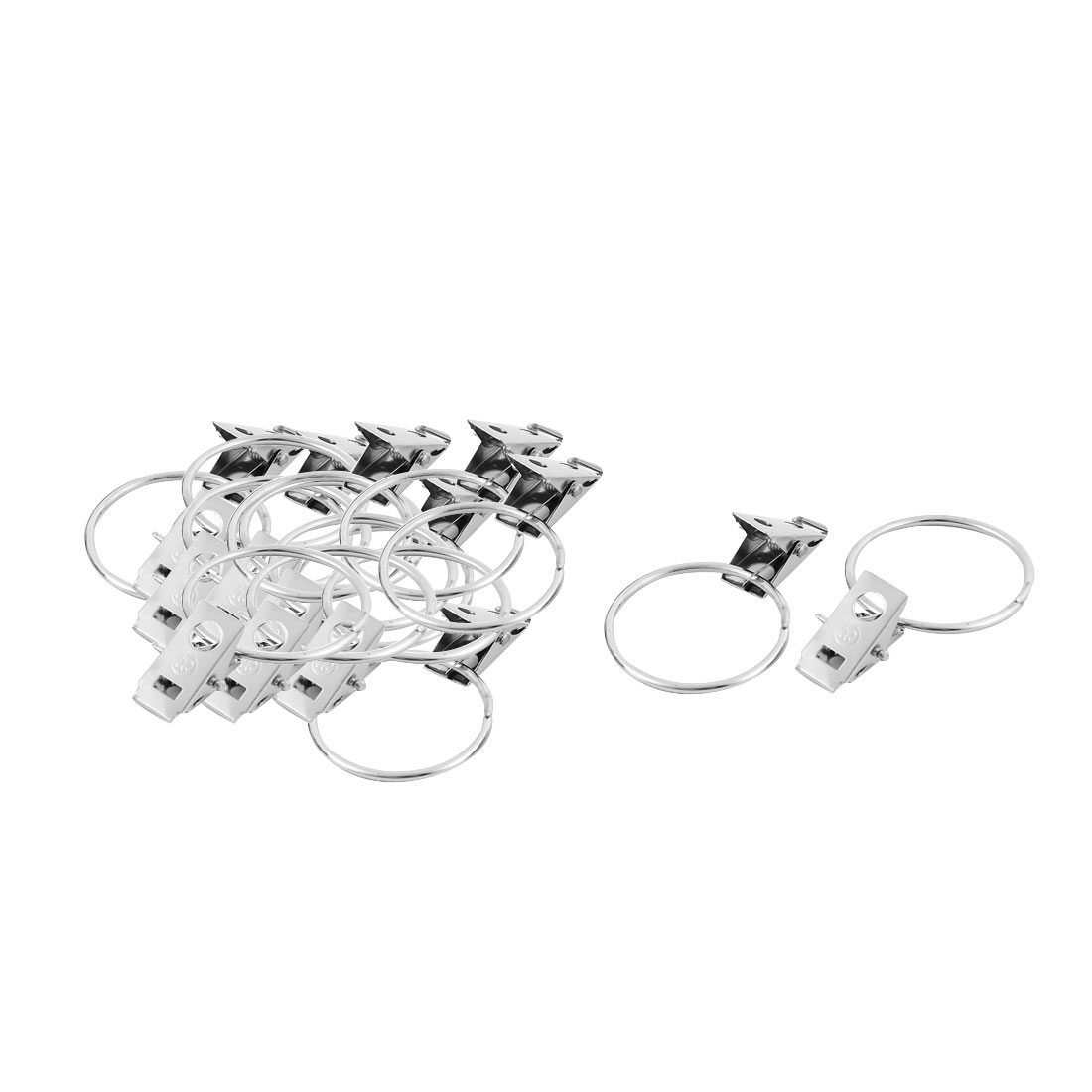 16 Pcs Metal Hooks Sprung Curtain Clothes Clips Clamps 36mm Dia Ring