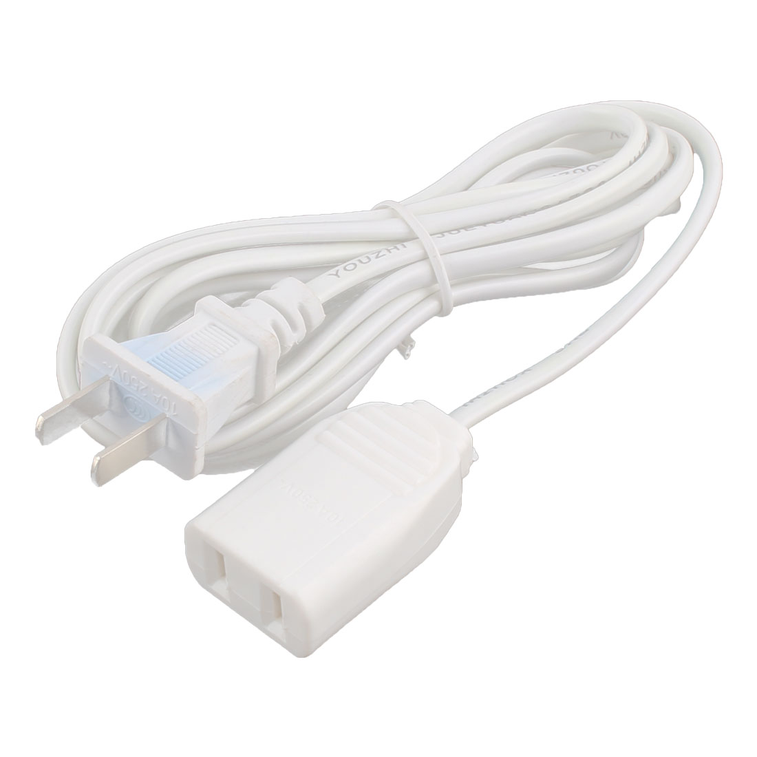 US Plug 2 Prong Power Suppy AC Adapter Extension Charger Charging Cable Cord White 3 Meters