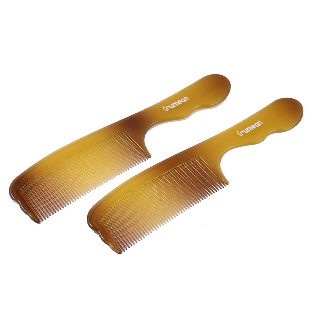 Home Plastic Hairdressing Wavy Handgrip Anti-static Hair Comb Brown 2pcs