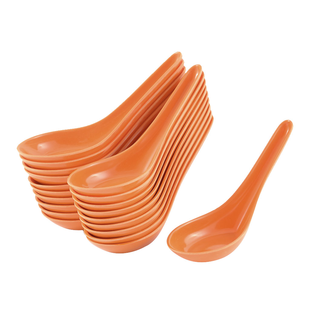 Kitchen Restaurant Tableware Plastic Stirring Food Spoon Orangered 20pcs