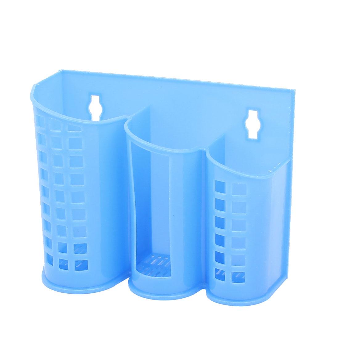 Kitchen Plastic 3 Compartments Spoon Chopsticks Holder Cage Organizer Blue
