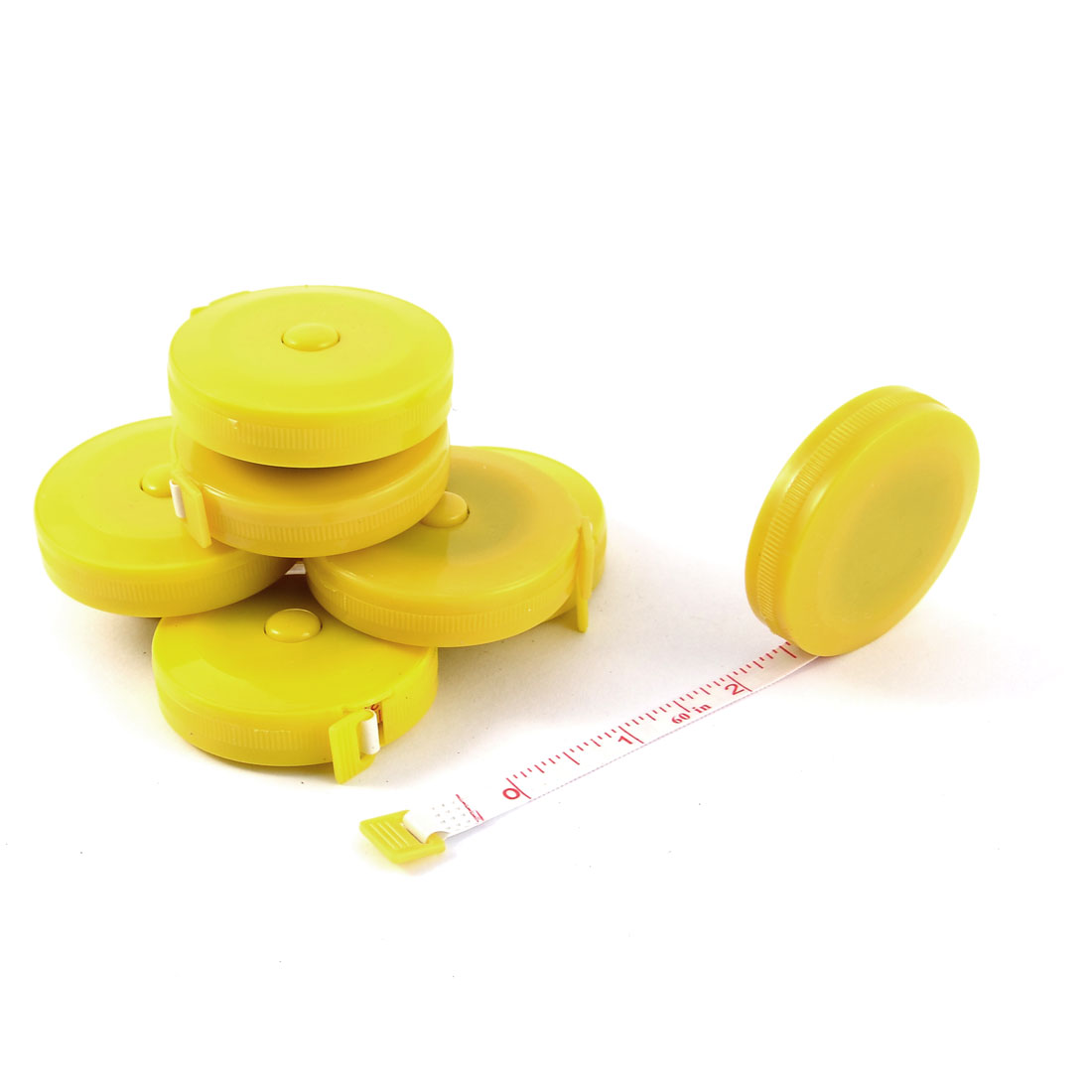 Tailor Sewing Press Button Retractable Measuring Tape Ruler Yellow 8pcs