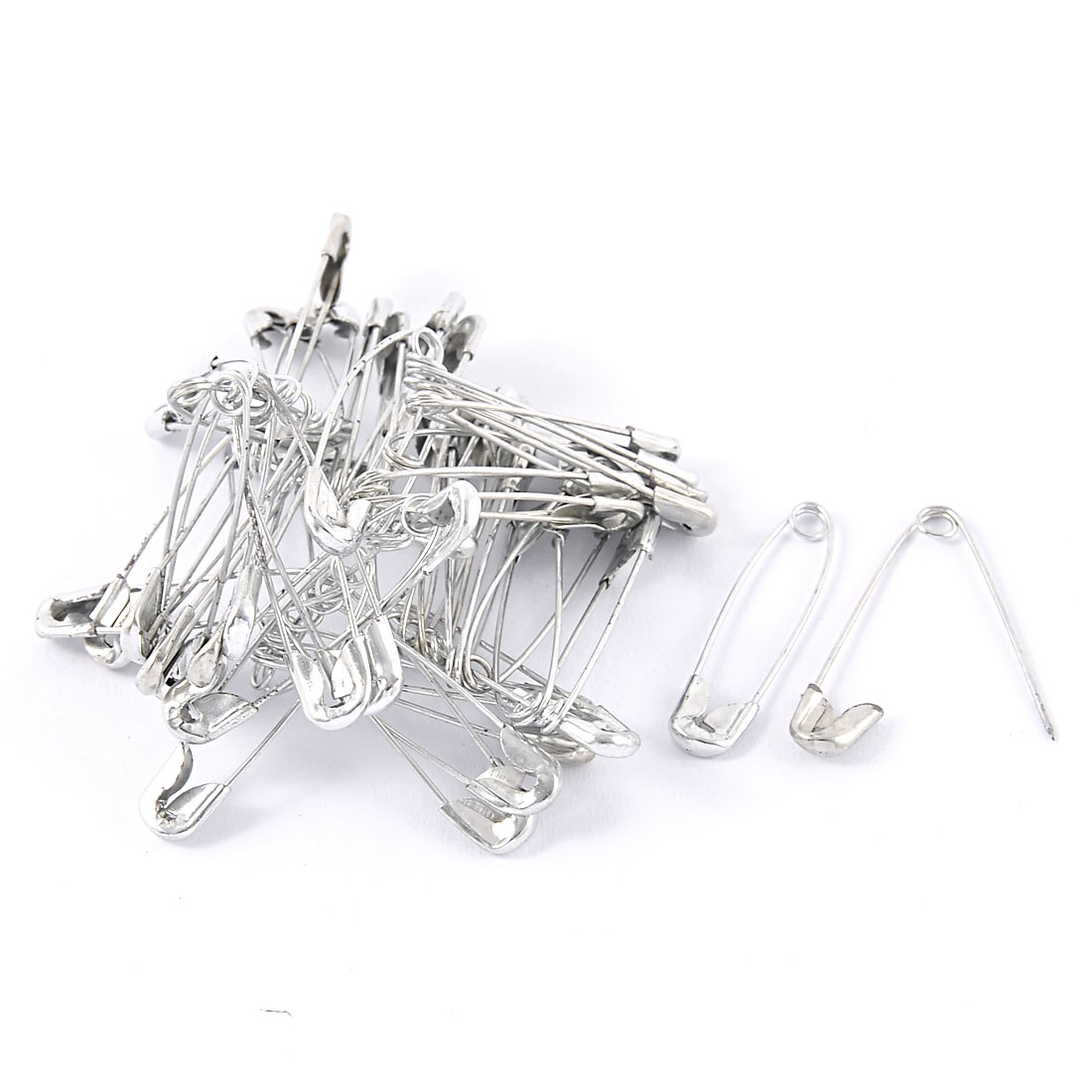 DIY Craft Clothes Sewing Knitted Safety Brooch Pin Silver Tone 32mm 50 Pcs