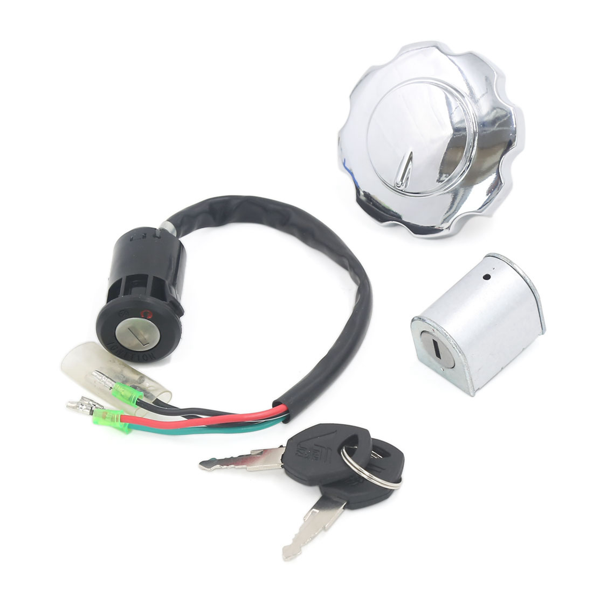 Motorcycle Ignition Switch Fuel Tank Cap Lock Set w Keys Fits for CG-125