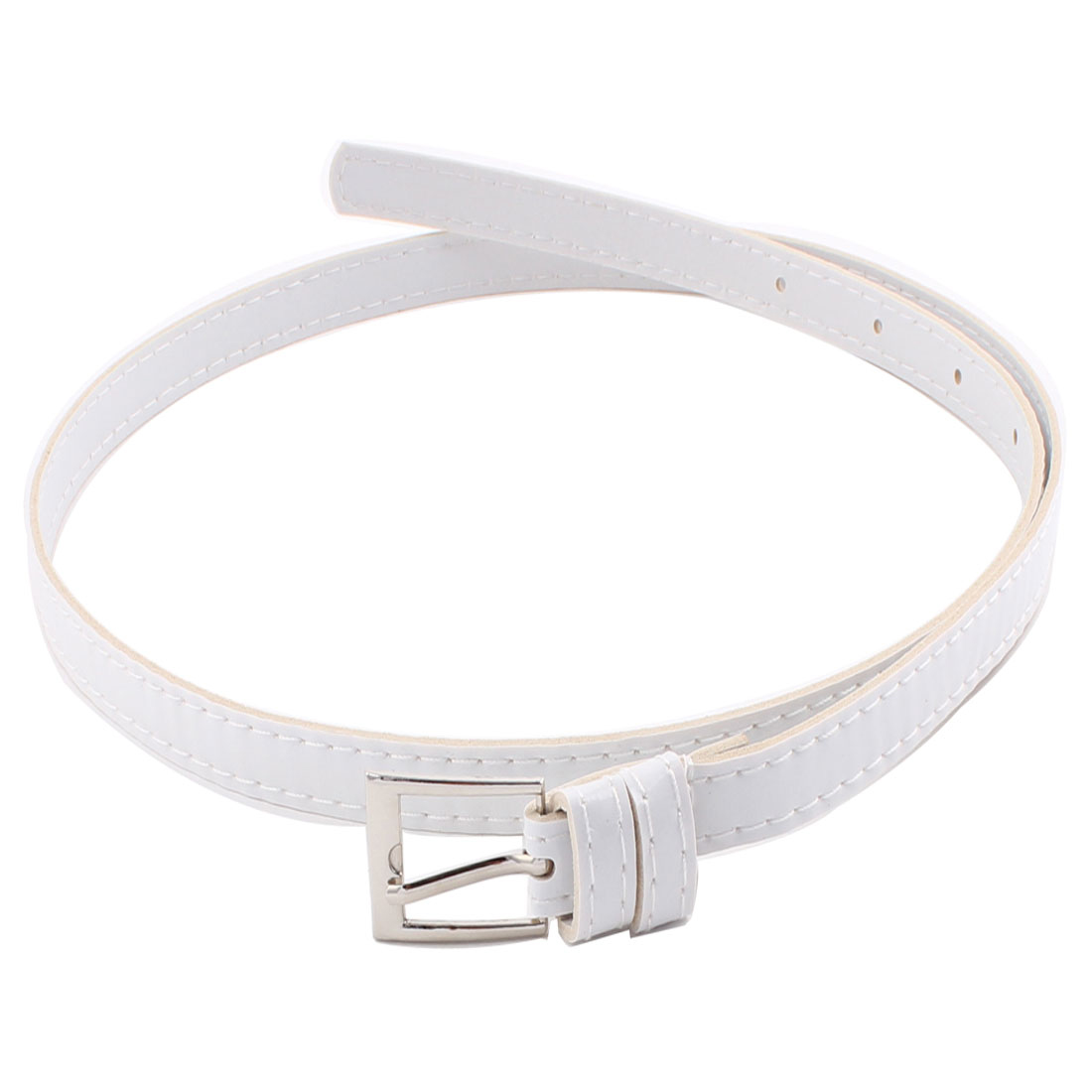 Lady Faux Leather Single Pin Buckle Design 1.2cm Width Slim Waistband Waistbelt Waist Belt White