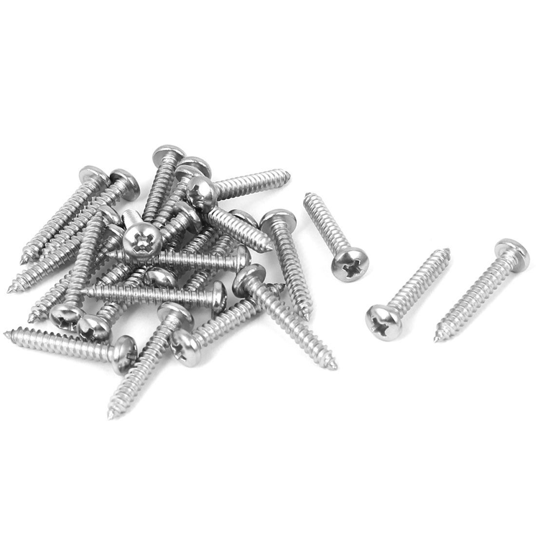 #7 M3.9x25mm Stainless Steel Phillips Round Pan Head Self Tapping Screws 25pcs