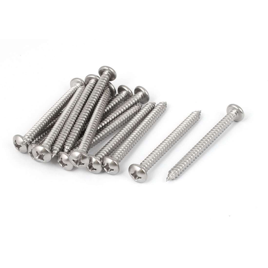 #12 M5.5x60mm Stainless Steel Phillips Round Pan Head Self Tapping Screws 15pcs