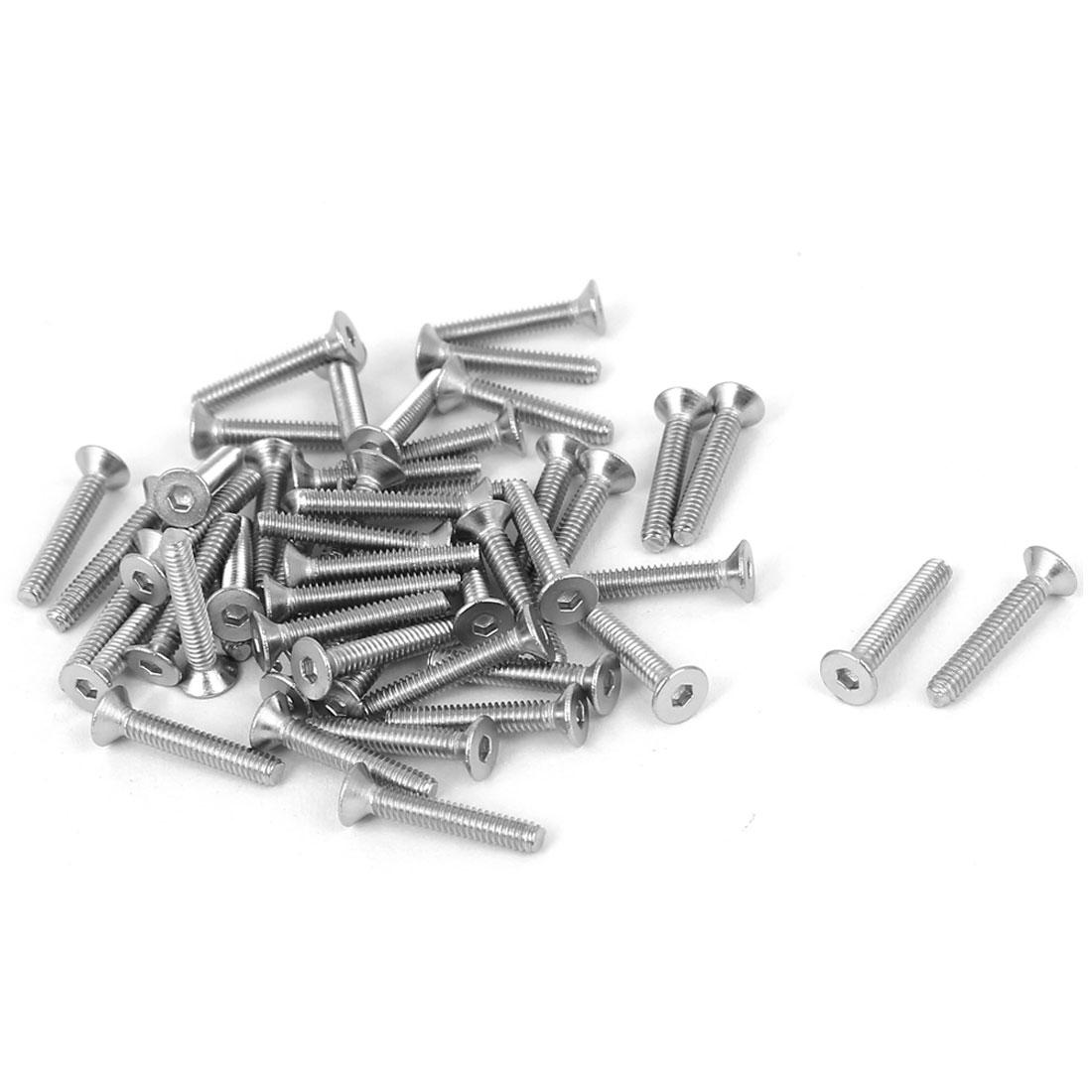 M2 x 12mm 304 Stainless Steel Hex Socket Countersunk Flat Head Screw Bolts 50pcs