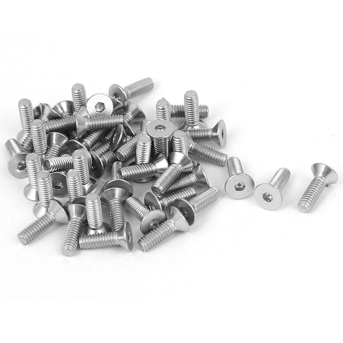 M2.5x8mm Stainless Steel Hex Socket Flat Head Countersunk Bolts Screw 50pcs