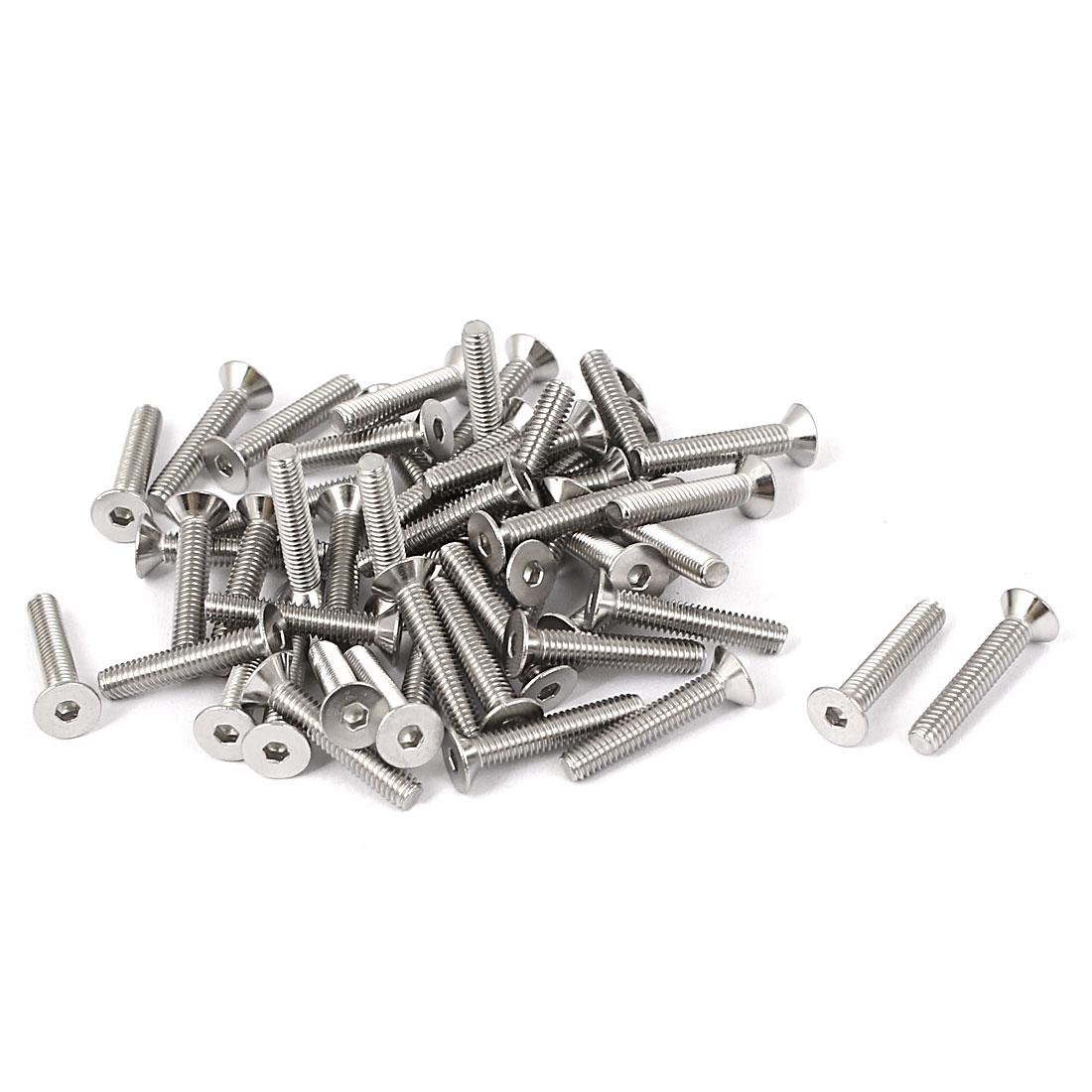 M2.5x14mm Stainless Steel Hex Socket Flat Head Countersunk Bolts Screw 50pcs