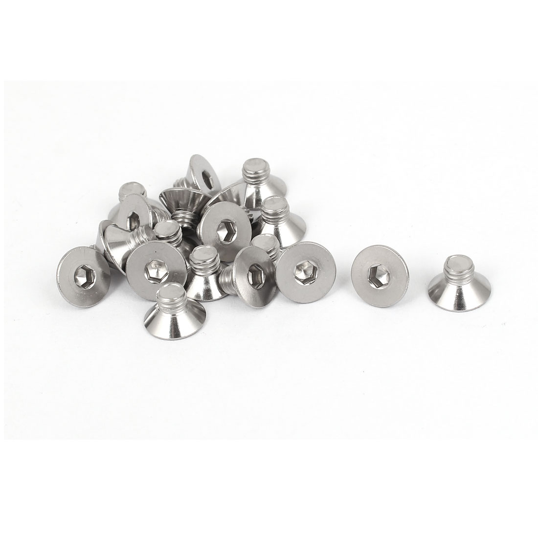 M5x6mm Stainless Steel Hex Socket Flat Head Countersunk Bolts Screw 20pcs