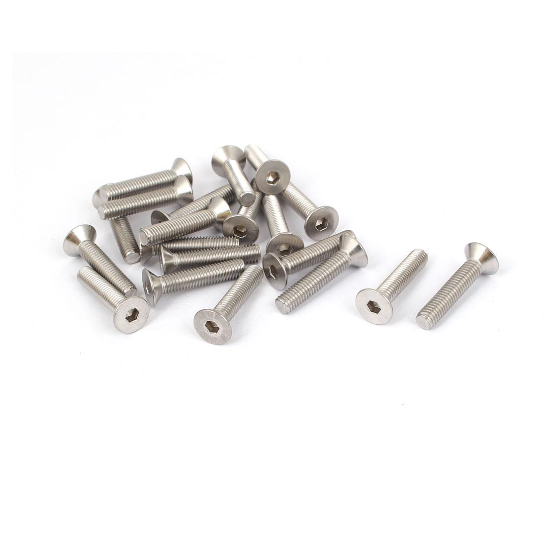 M5x25mm Stainless Steel Hex Socket Flat Head Countersunk Bolts Screw 20pcs