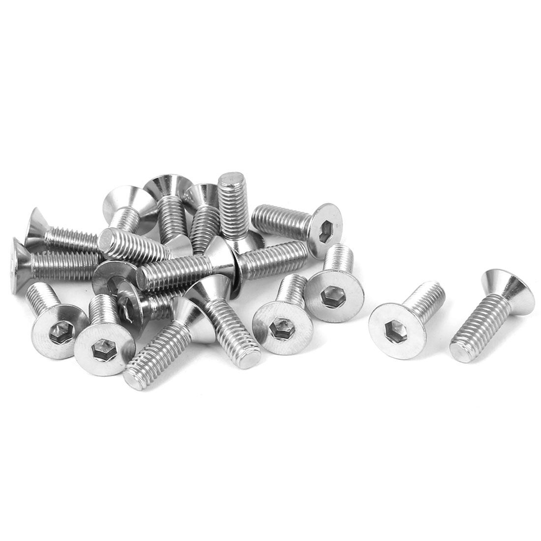 M6x18mm Stainless Steel Hex Socket Flat Head Countersunk Bolts Screw 20pcs