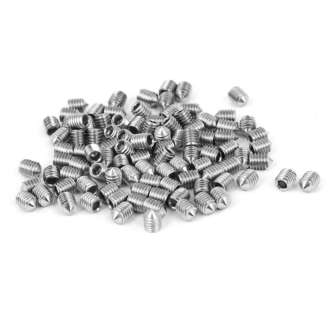 M3x4mm Stainless Steel Cone Point Hexagon Socket Grub Screws 100pcs