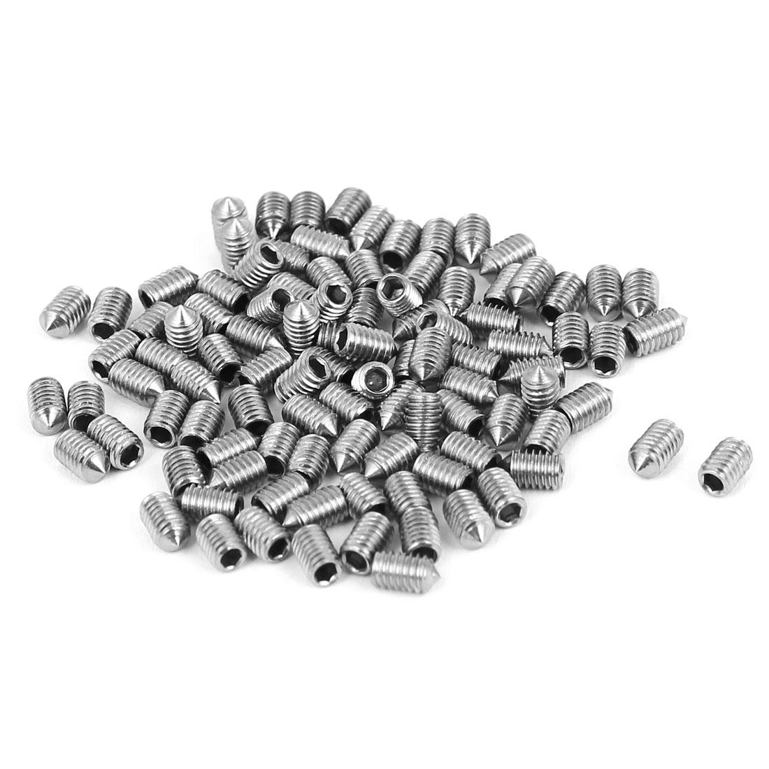 M3x5mm Stainless Steel Cone Point Grub Screws Hex Socket Set Screw 100pcs