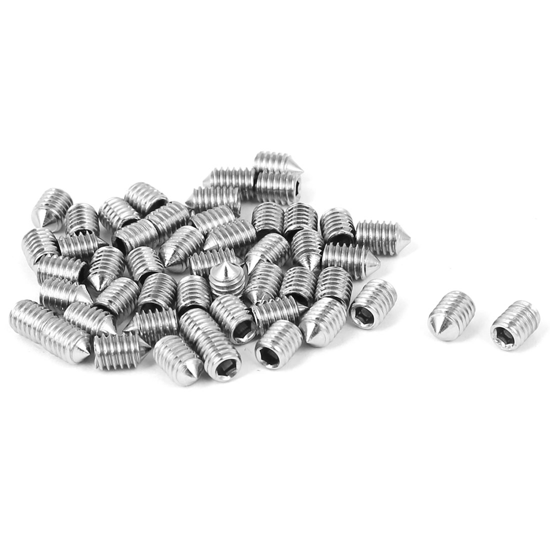 M4x6mm Stainless Steel Cone Point Grub Screws Hex Socket Set Screw 50pcs