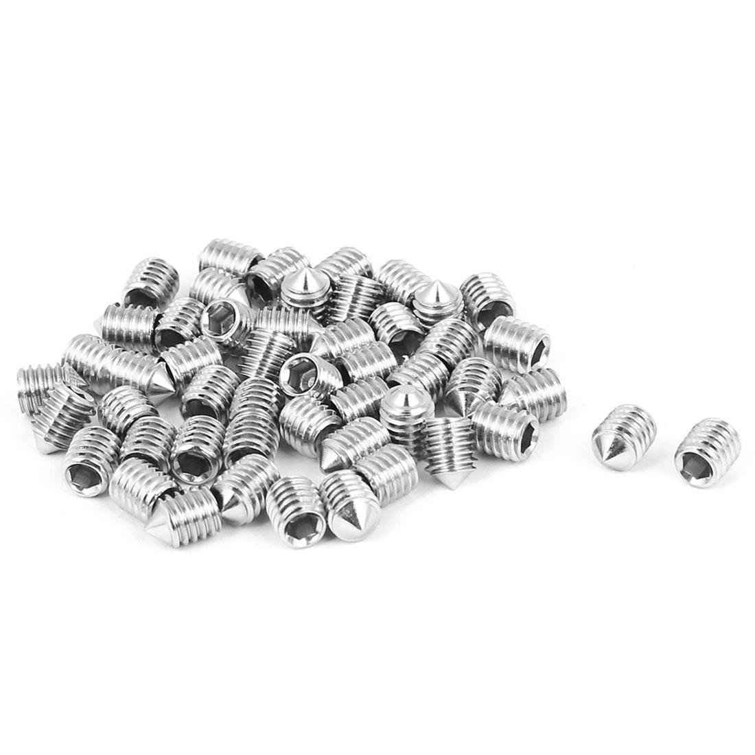 M6x8mm 1mm Pitch Stainless Steel Cone Point Hexagon Socket Grub Screws 50pcs