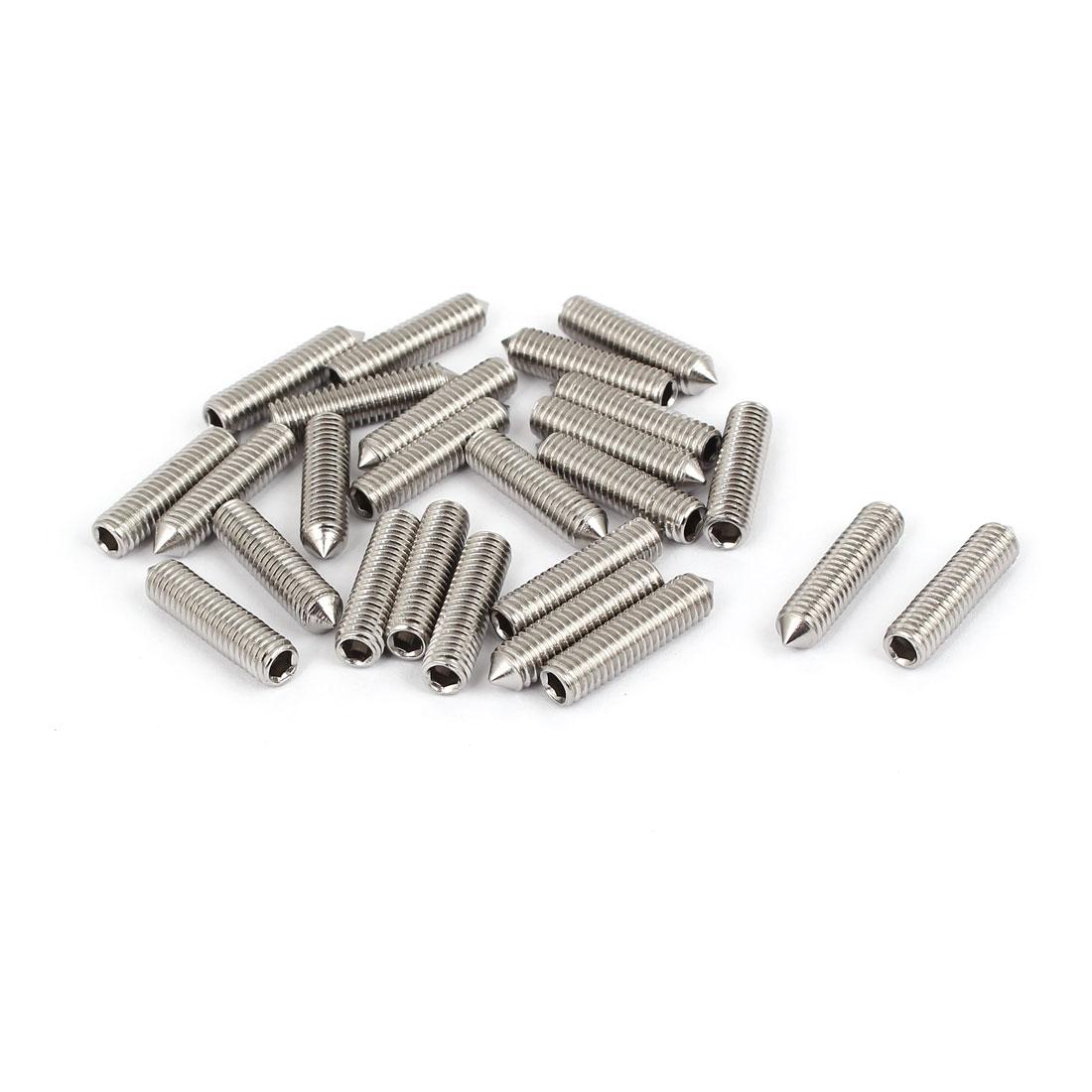 M6x25mm Stainless Steel Cone Point Grub Screws Hex Socket Set Screw 25pcs