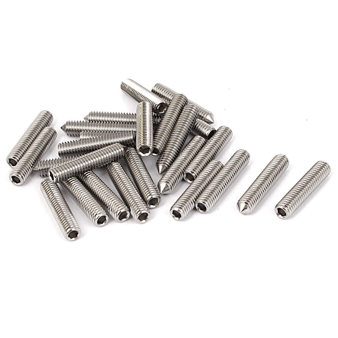M6x30mm Stainless Steel Cone Point Grub Screws Hex Socket Set Screw 25pcs