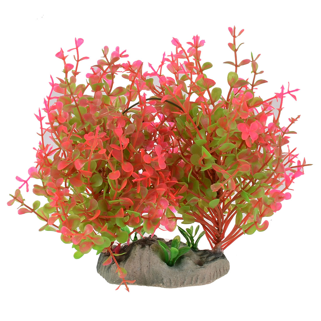 Aquarium Emulation Plastic Underwater Grass Plants Pink Green Round Leaf 14.5cm High