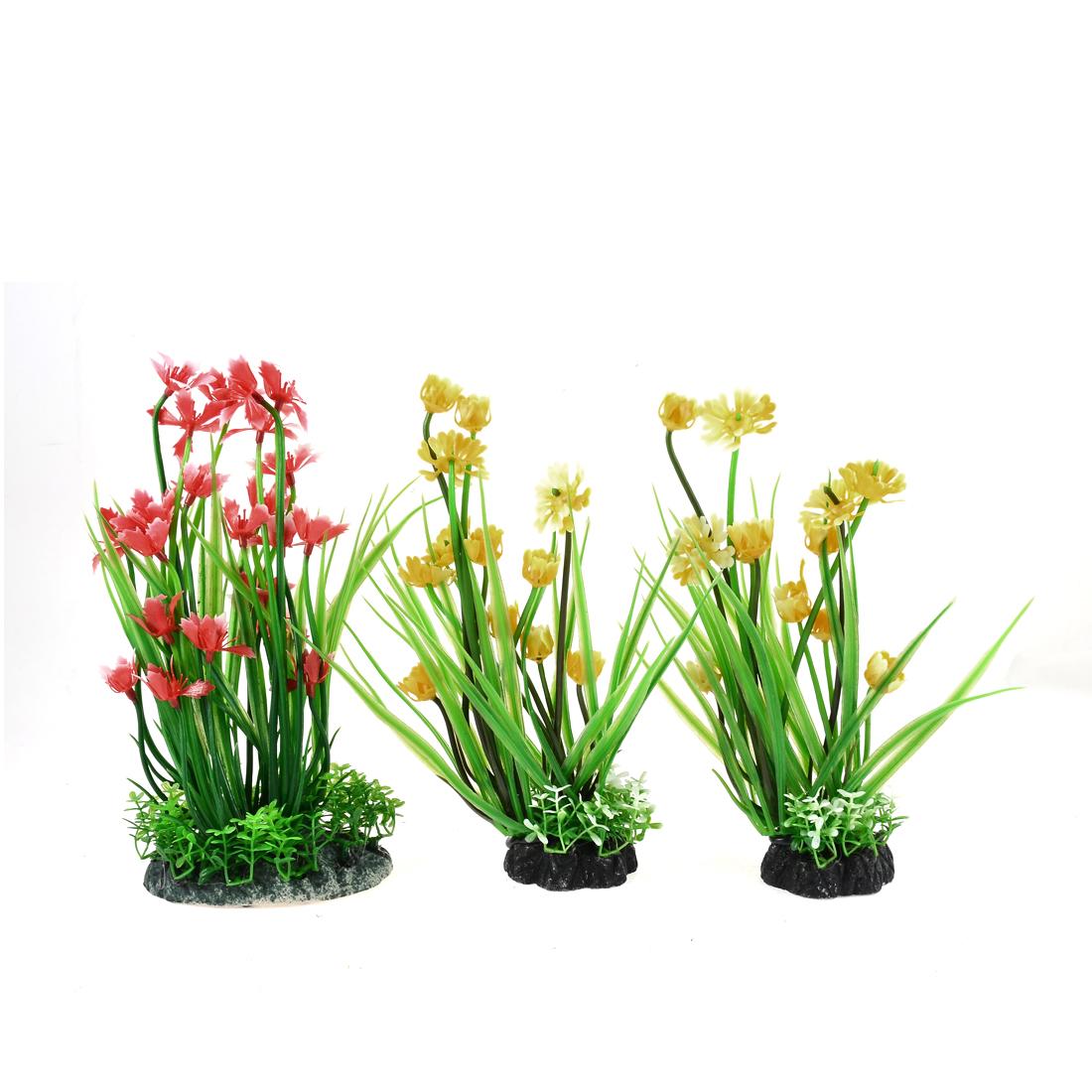Fish Tank Aquarium Plastic Artificial Water Plant Grass Flower 22cm Height 3pcs