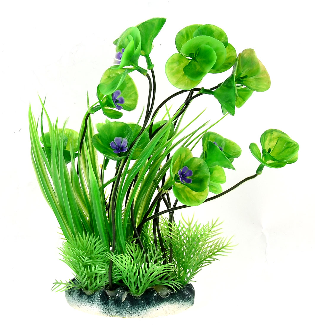 Aquarium Fish Tank Landscaping Artificial Plastic Aquatic Narcissus Water Plants Violet Green 23cm High