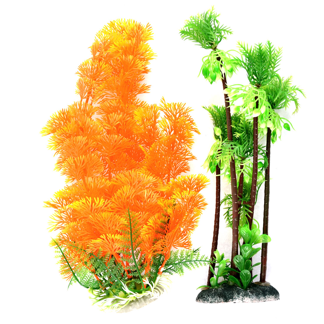 Aquarium Plastic Decor Tree Detail Simulation Underwater Plants Green Yellow 2pcs