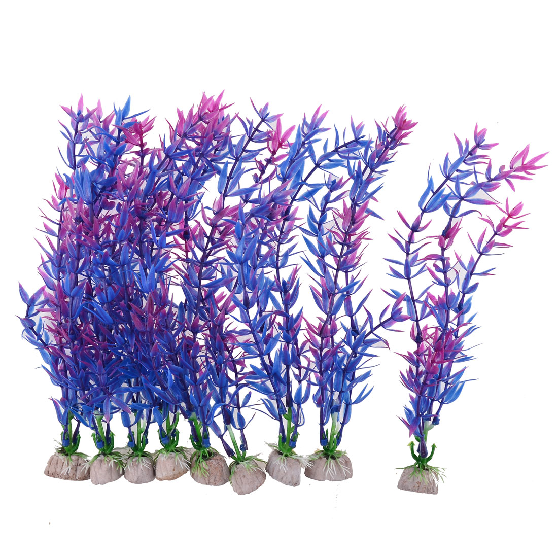 Aquarium Ornament Plastic Underwater Grass Stone Base Plants Purple 24cm 9pcs
