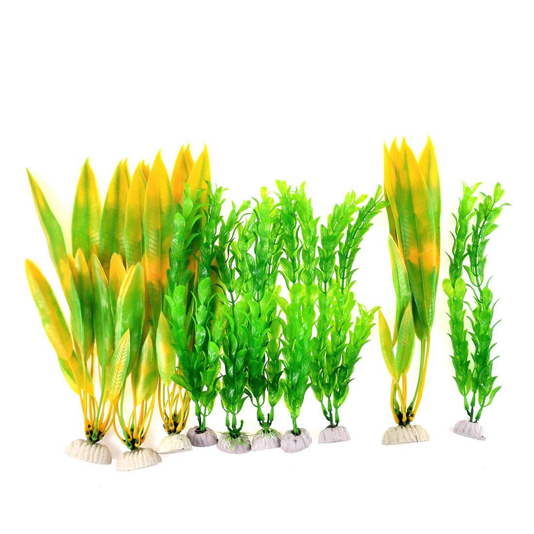 Aquarium Ornament Plastic Underwater Grass Leaves Plants Green Yellow 10pcs
