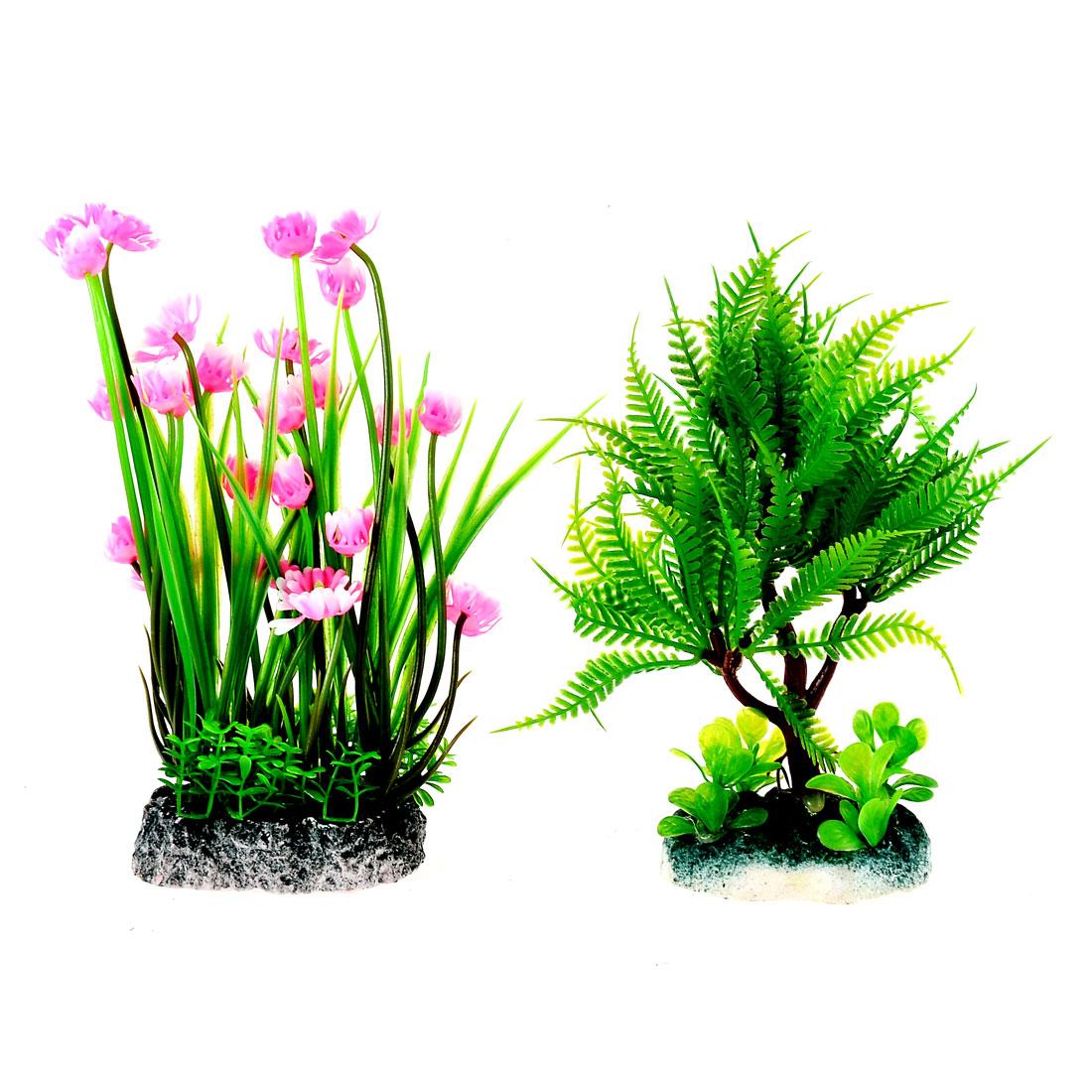 Aquarium Fish Tank Landscaping Artificial Plastic Aquatic Tree Plants Green Coral 2pcs