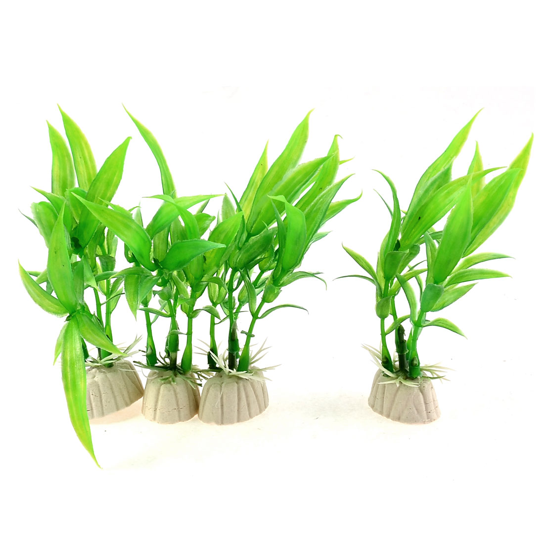 Aquarium Ornament Plastic Plants Ceramic Base Green 4pcs for Fish Tank