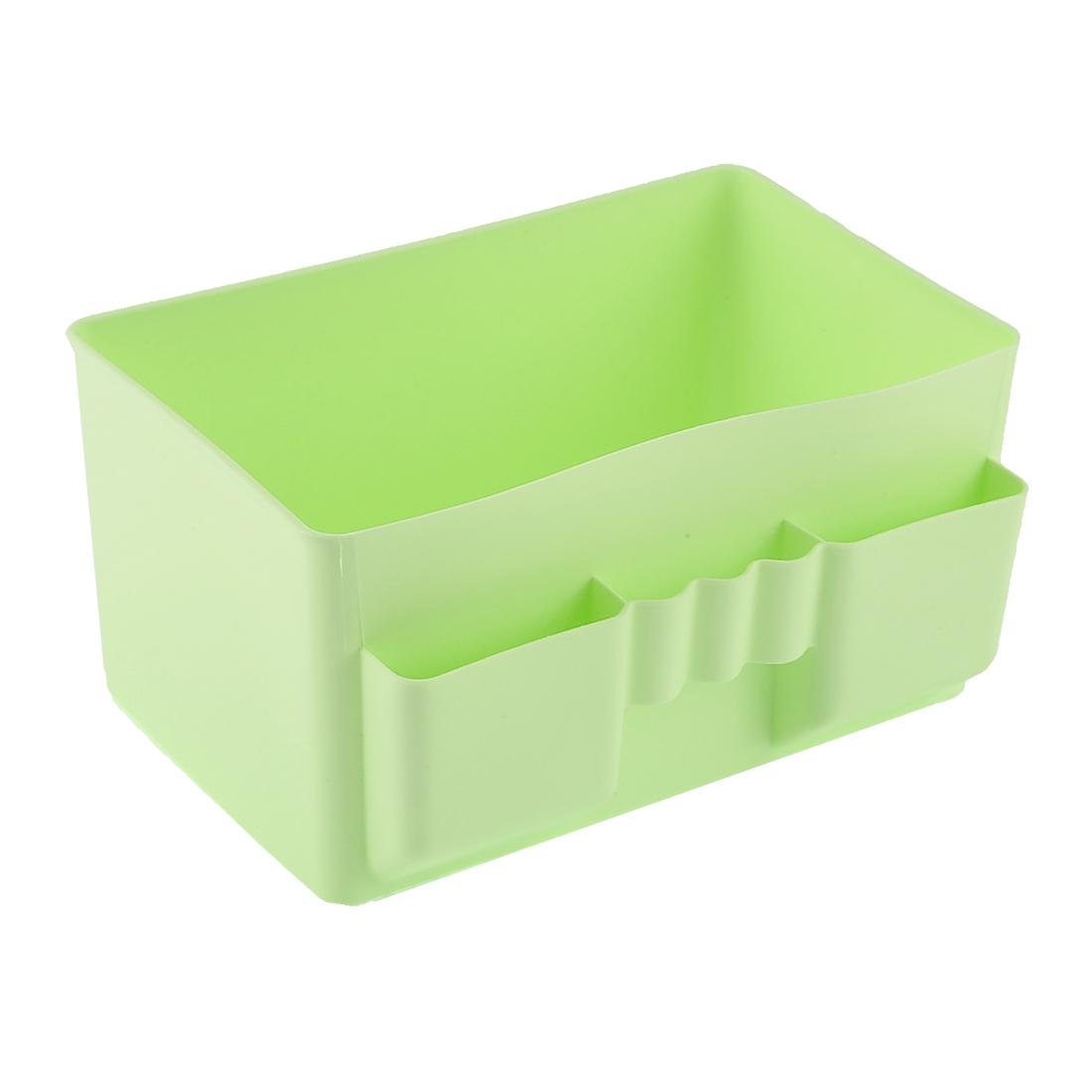 Office Household Table Desk Plastic Storage Case Basket Divider Box Green