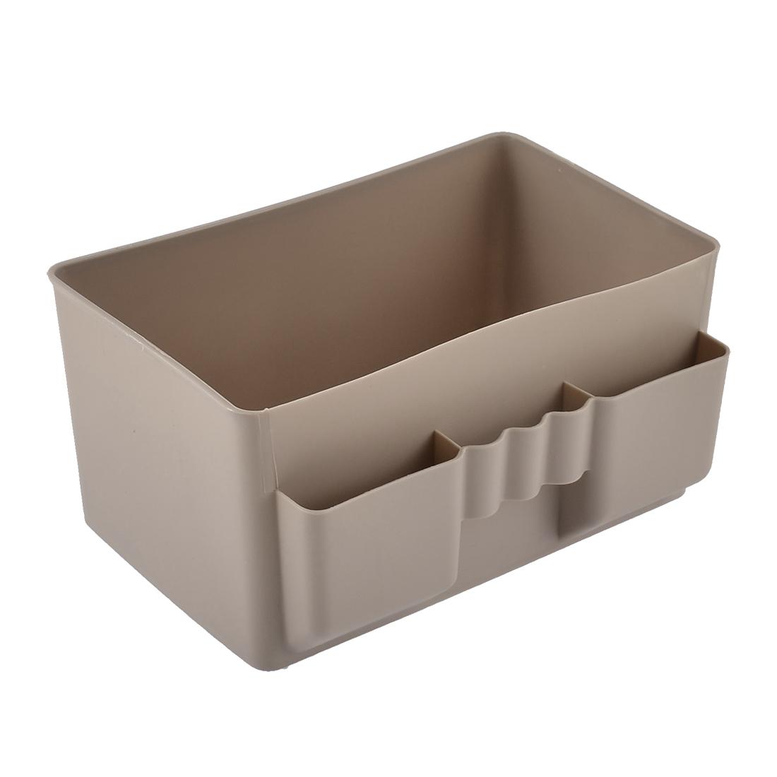 Kitchen Table Desktop Plastic Storage Case Organizer Divider Box Brown