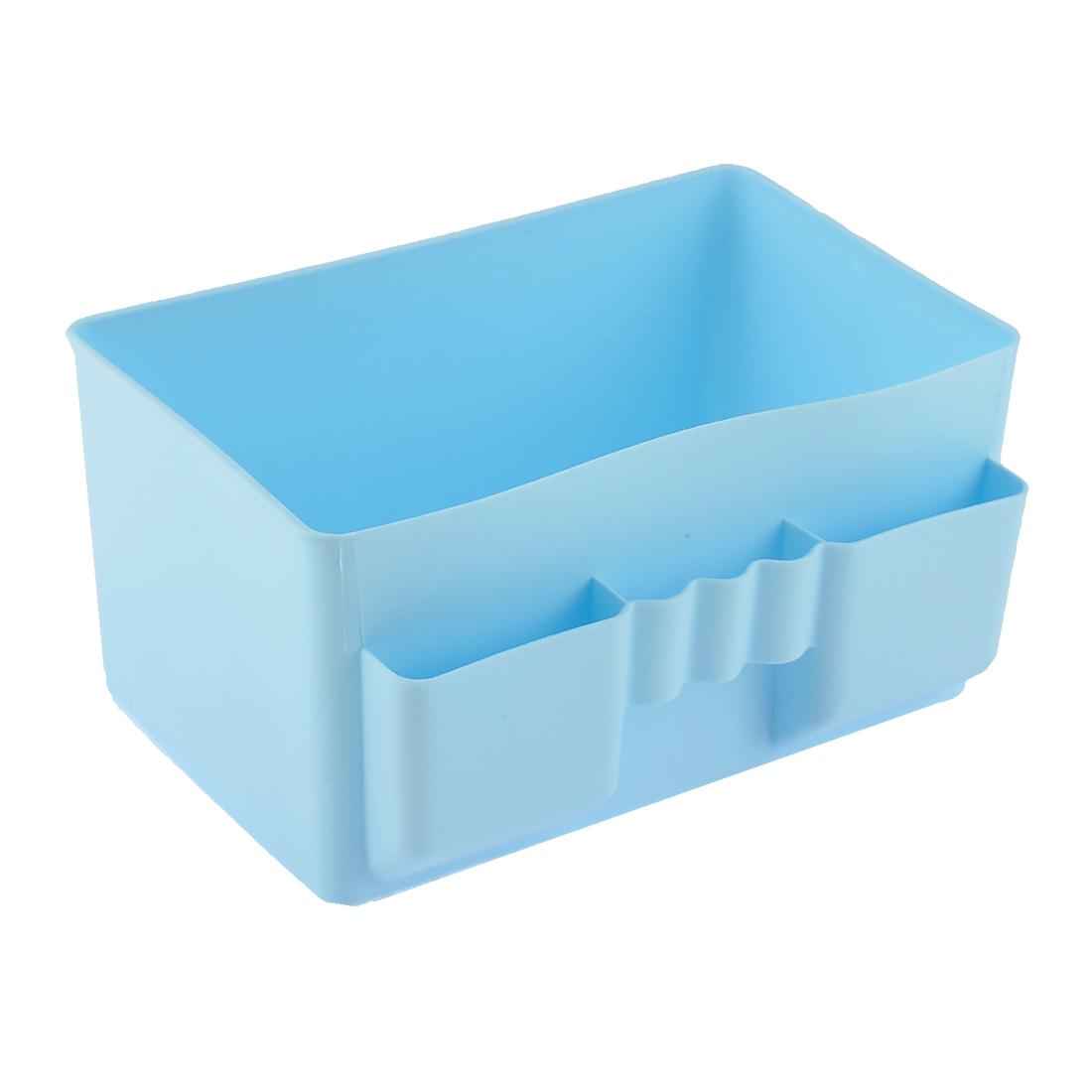 Office Toilet Makeup Desktop Plastic Storage Case Basket Divider Box Blue
