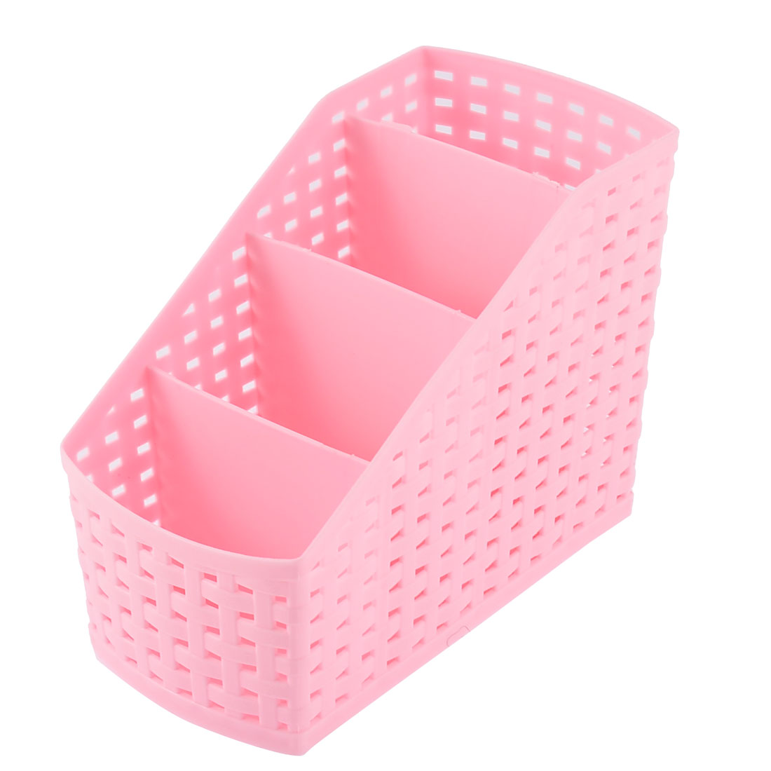 Kitchen Home Makeup Desktop Plastic 4 Slots Storage Organizer Divider Box Pink