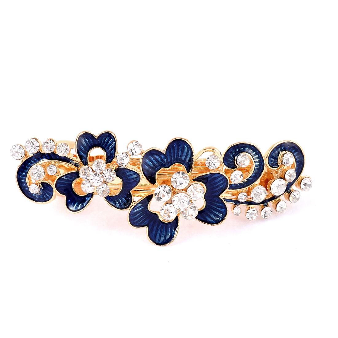 Lady Head Wear Faux Crystal Inlaid Floral Design Hair Barrette Clip Hairpin Blue
