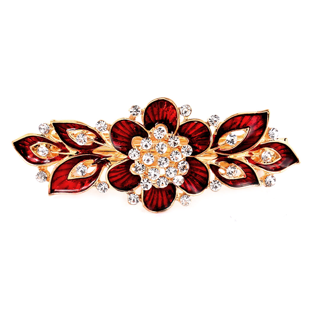 Lady Floral Design Faux Crystal Inlaid French Hair Barrette Clip Hairpin Red