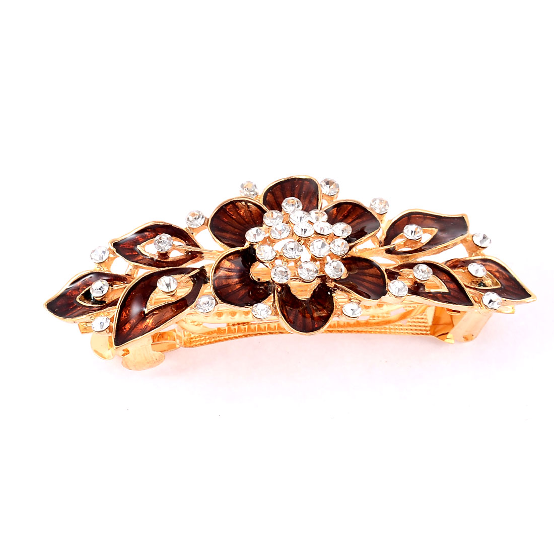 Lady Metal Floral Design Vintage Style French Hair Barrette Clip Hairpin Brown