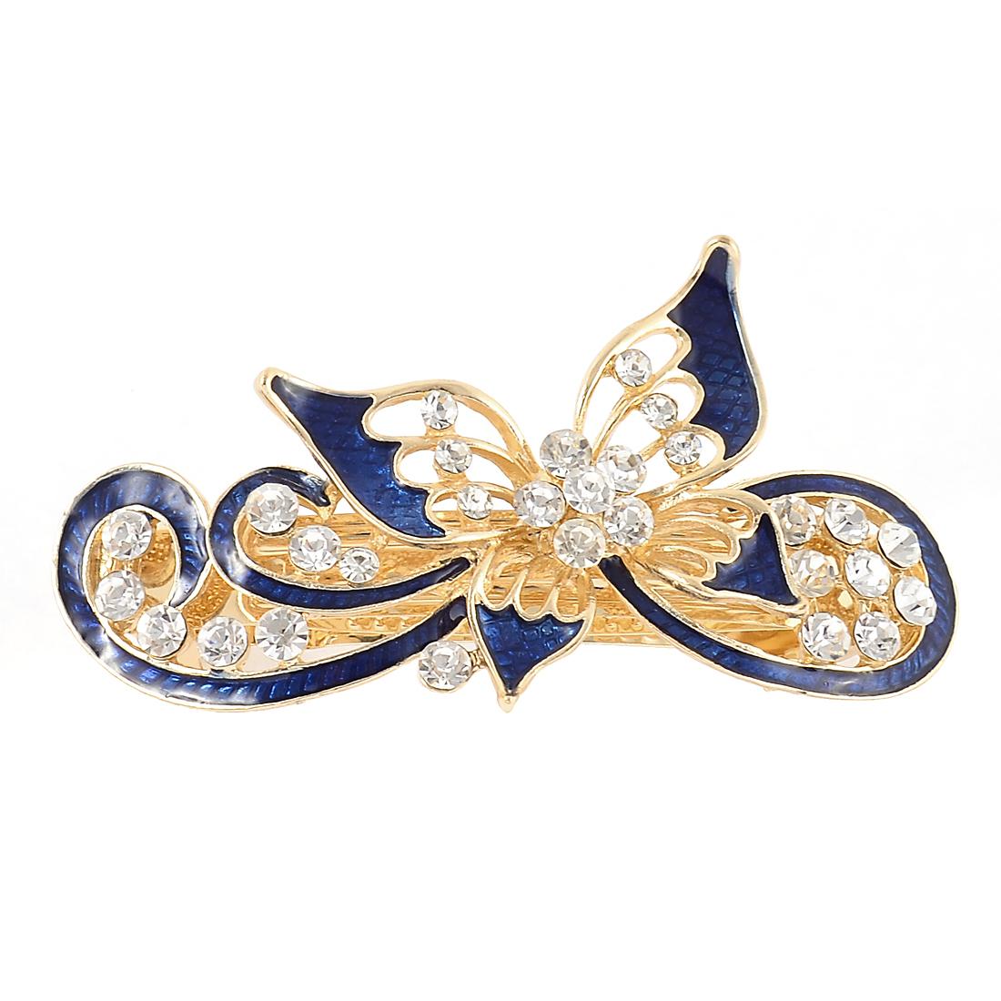 Women Rhinestone Decor Butterfly Design French Hair Barrette Clip Hairpin Blue