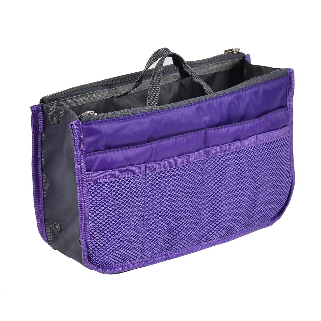 Women Lady Comestic Multifunction Storage Handbag Pouch Bag Organizer Purple