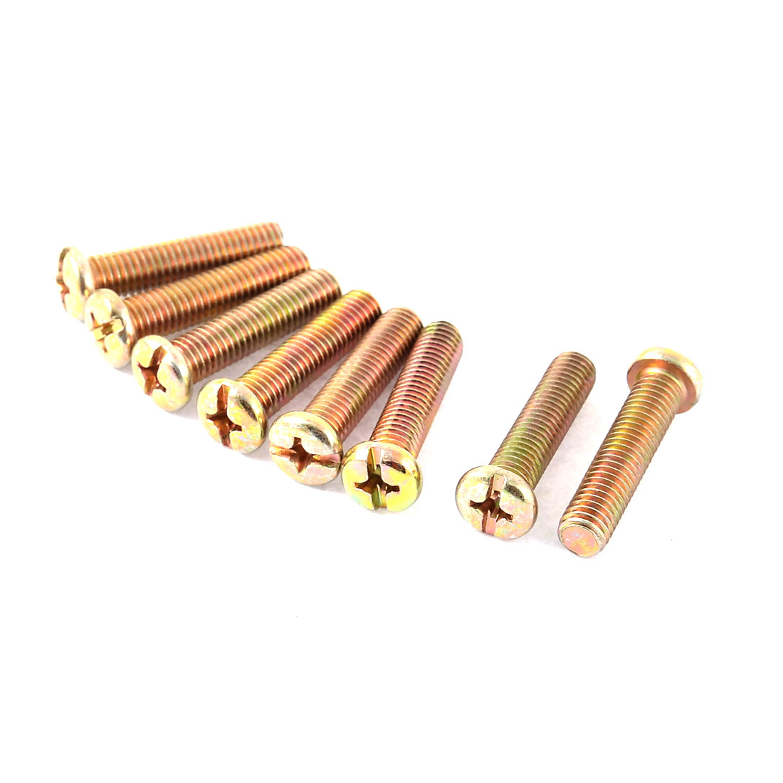 M8 x 35mm Full Thread Phillips Round Head Machine Screw Bolt Bronze Tone 8 Pcs