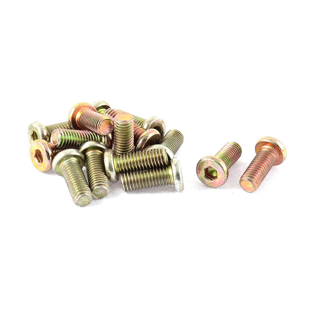M8 x 20mm Full Thread Hex Socket Head Cap Screw Bolt Bronze Tone 15 Pcs