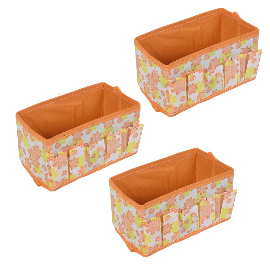 Home Desktop Cosmetic Foldable Floral Pattern Storage Box Case Orange 3pcs