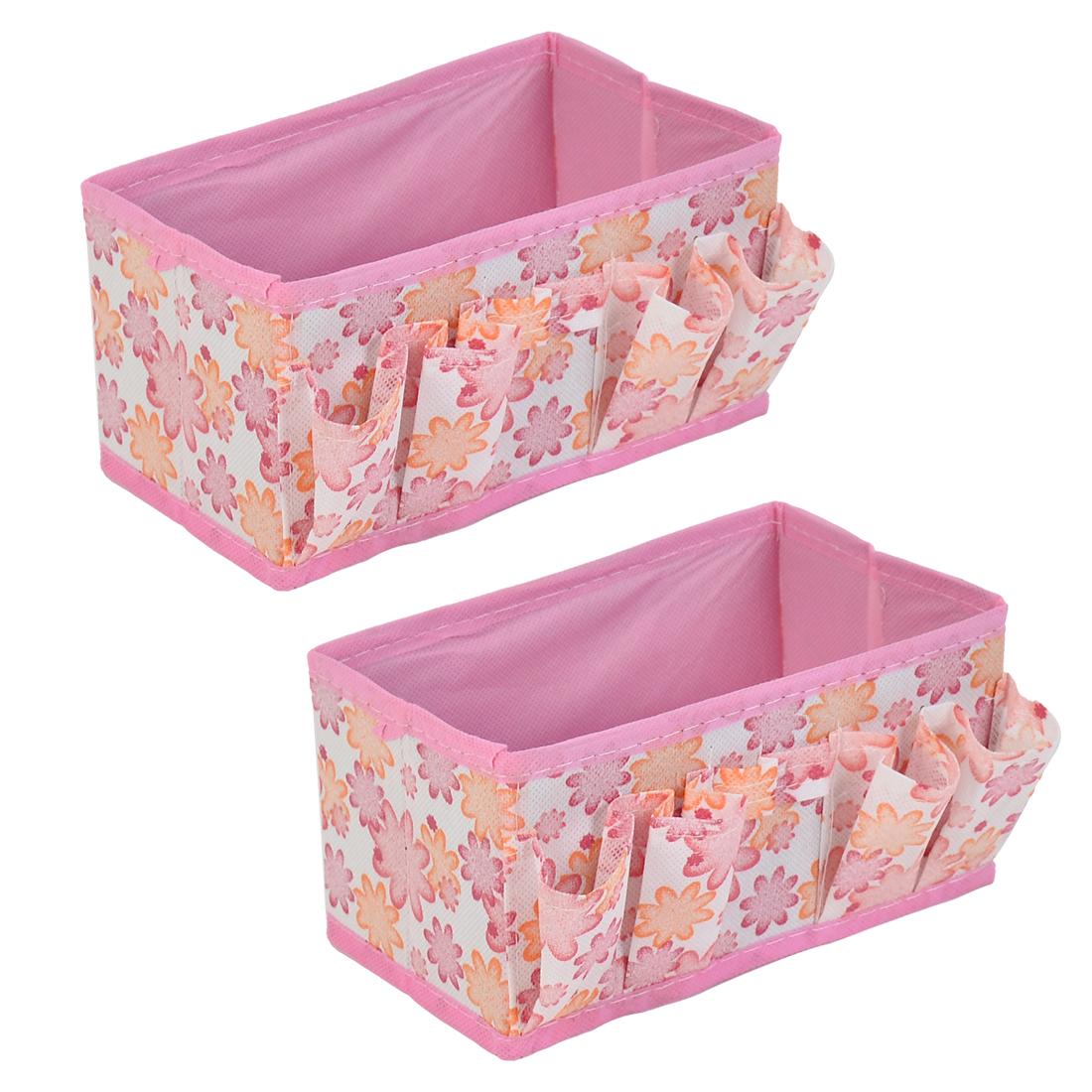 Bathroom Cosmetic Foldable Floral Pattern Storage Box Case Organizer Pink 2pcs