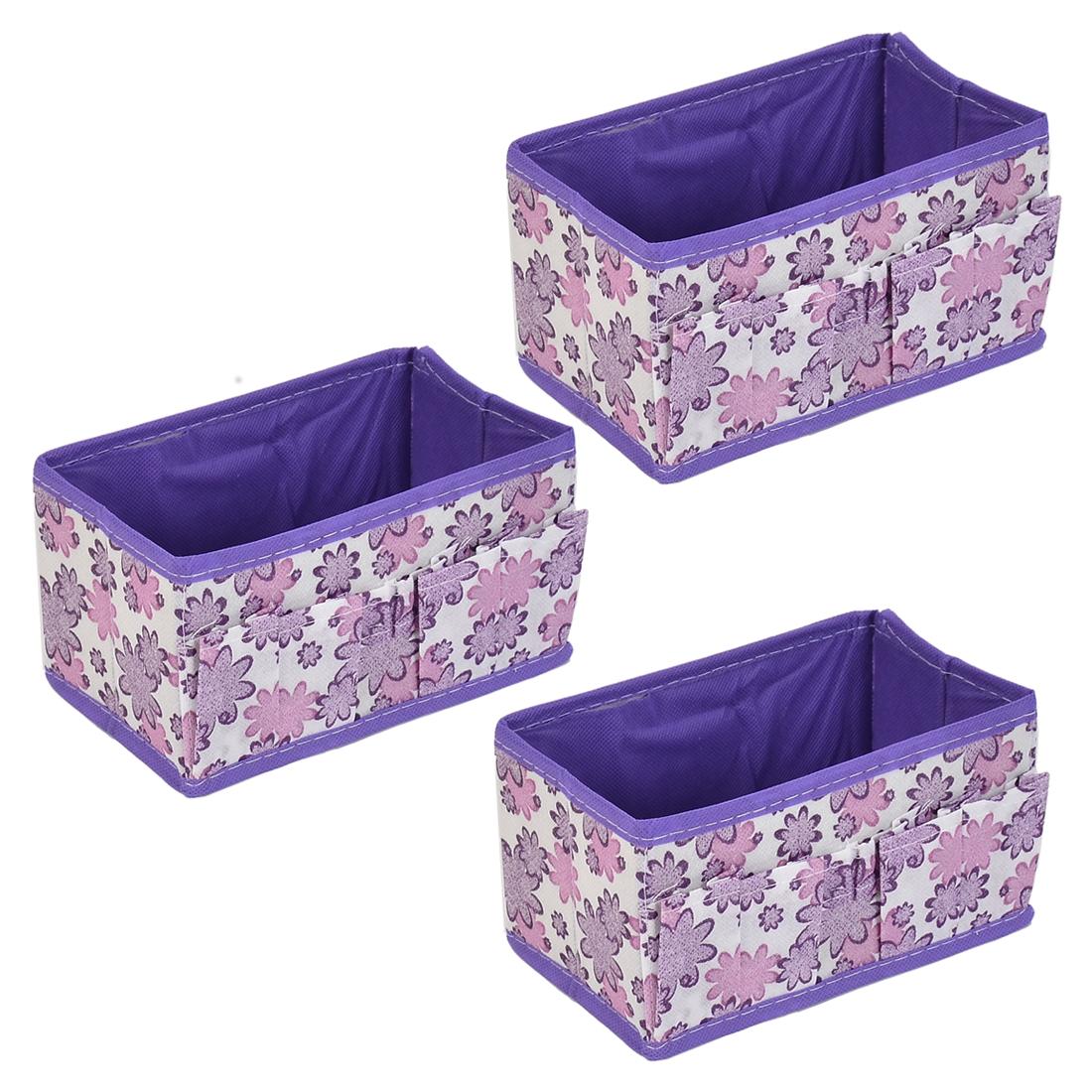 Household Sundries Floral Pattern Storage Box Case Organizer Purple 3 Pcs