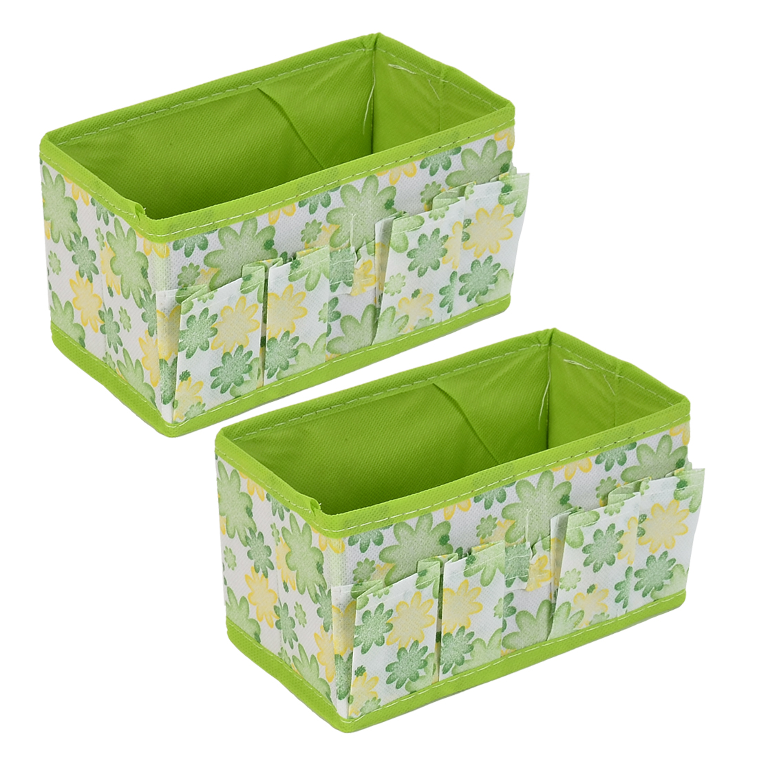 Women Cosmetic Jewelry Foldable Floral Pattern Storage Box Case Green 2pcs