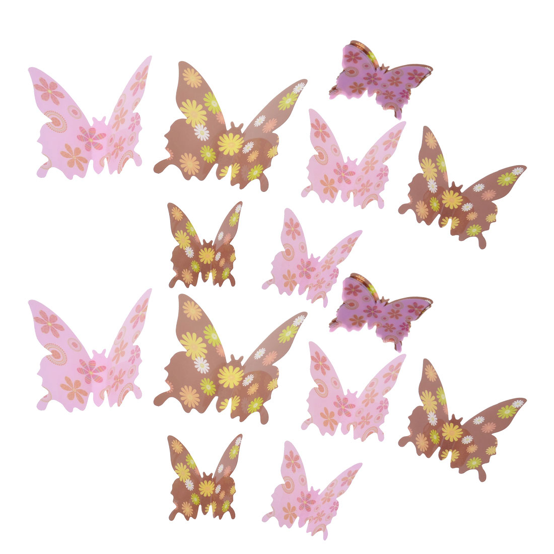 Room Art Decor 3D Floral Pattern Butterfly Shaped Wall Sticker Decal 24pcs